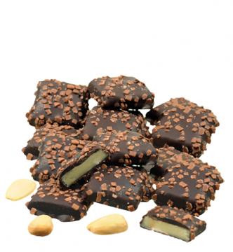 Marzipanblätter in Edelbitterschokolade