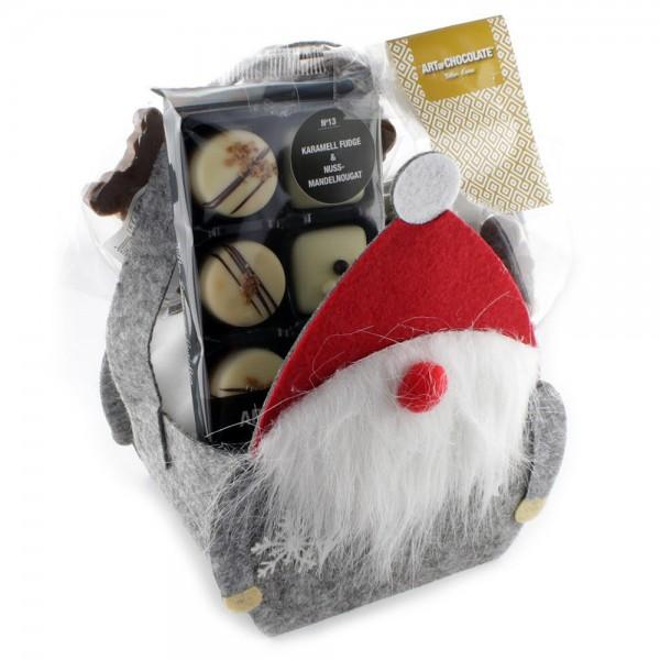 Präsent Weihnachtstasche gefüllt mit Jolly Santas Nougat, 3 Lollys Weihnachten, Edition Nr13