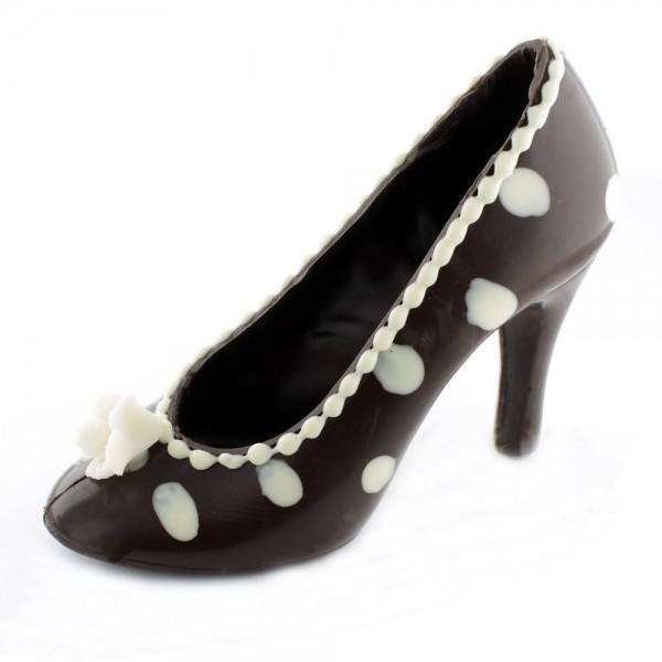 Schokoladen High Heel Braun/weiße Punkte