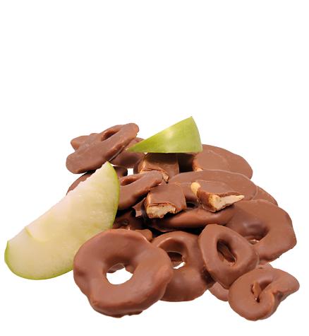 Apfelringe in Vollmilchschokolade