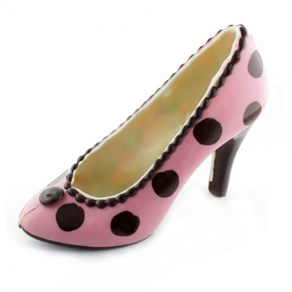 Schokoladen High Heel Rosa/schwarze Punkte