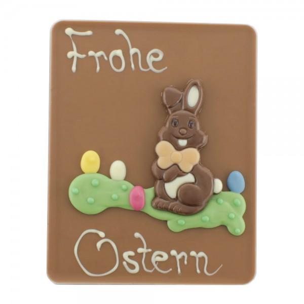 Beschriftete Tafel Vollmilch Frohe Ostern Hase