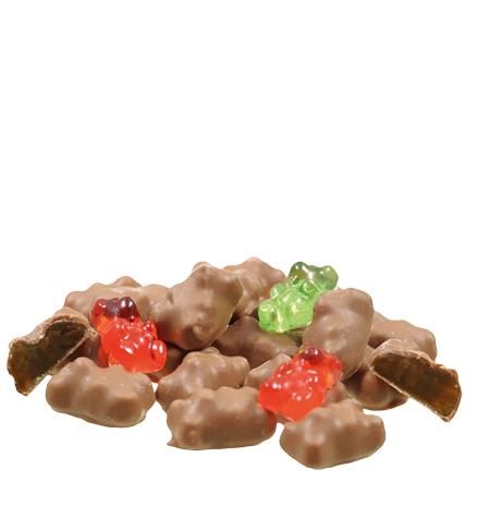 Fruchtgummibären in Vollmilchschokolade