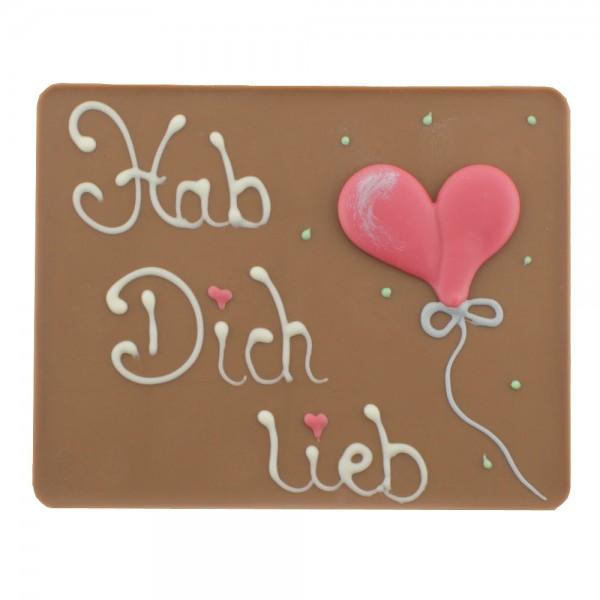 Beschriftete Tafel Vollmilch Hab Dich lieb