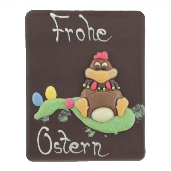 Beschriftete Tafel Edelbitter Frohe Ostern Huhn